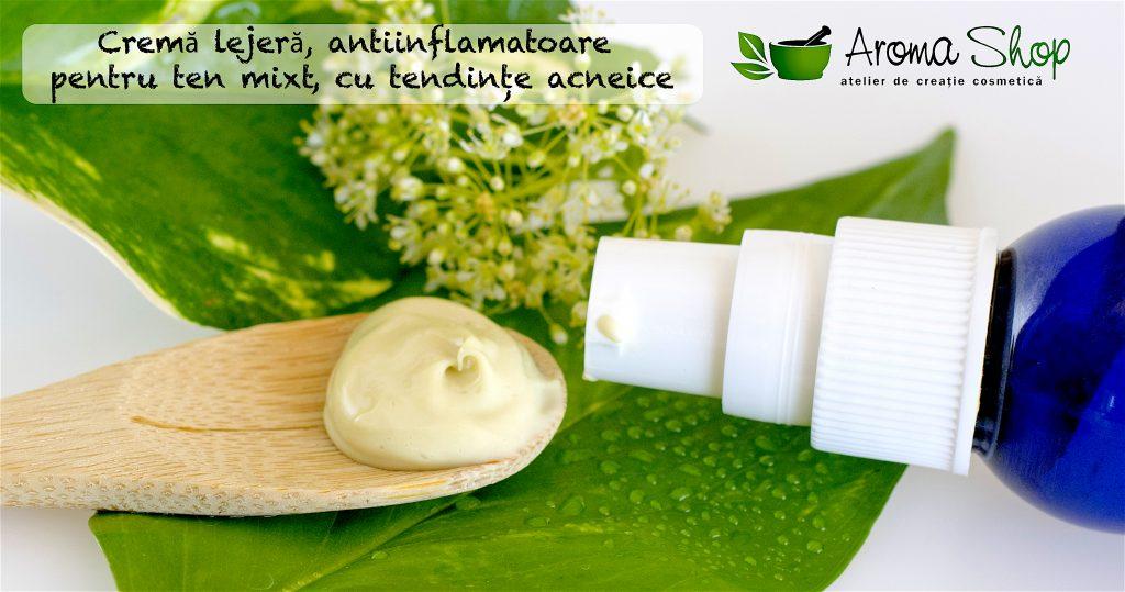 Cremă lejeră, antiinflamatoare pentru ten mixt, cu tendințe acneice