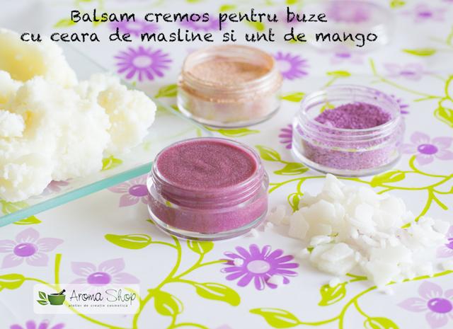 balsam cremos pentru buze cu unt de mangoo si ceara de masline